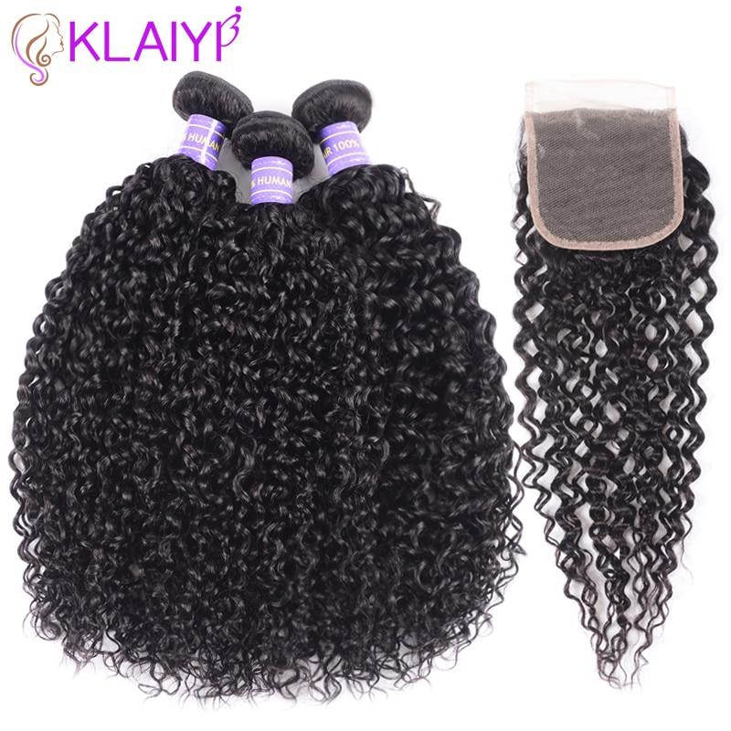Klaiyi Hair Brazilian Kinky Curly Hair 3 Bundles With Closure 4Pcs Lot Remy Hair Weave Human
