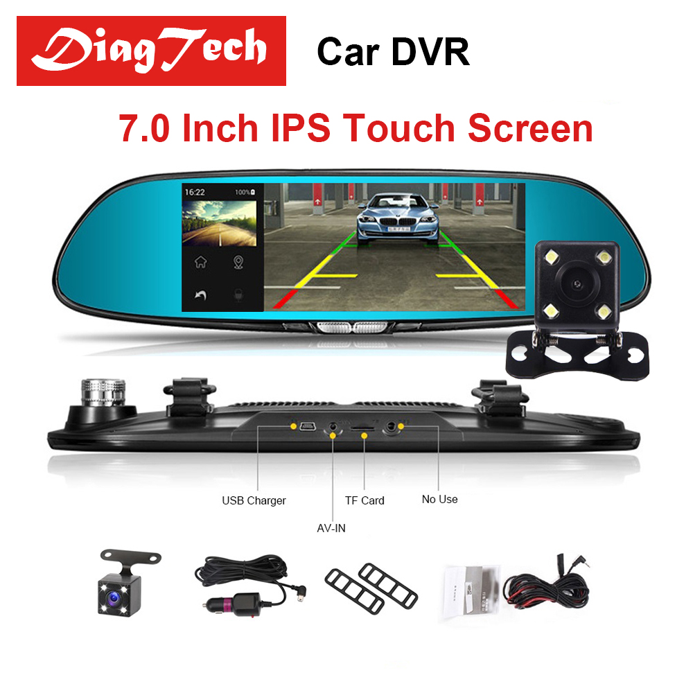 цена на 7 Touch Screen Car Mirror Video Car DVR Camera Auto DVR Dual Lens Recorder Rearview Mirror FHD 1080P Night Vision Dash Camera