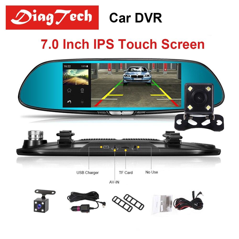 """7 """"Сенсорный экран зеркало автомобиля видео Видеорегистраторы для автомобилей Камера авто видеорегистратор Двойной объектив Регистраторы Зеркало заднего вида FHD 1080 P Ночное видение тире Камера"""