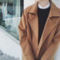 2017 New Fashion Winter Men's Coat Mens Long Design Warm Solid Brown Black Color Lapel Loose Shoulder Drop Men Wool Overcoat