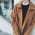 2017 Nova Moda de Inverno dos homens Mens Casaco Longo Projeto Quente Brown Negro Cor sólida Lapela Solto Queda Ombro Homens Lã sobretudo