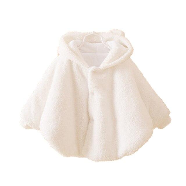 Новорожденный Ребенок Девушка Куртка Детская Зимняя Одежда Теплая Фланель Плащ Малышей Девушка Одежда Мыс Для Верхней Одежды Пальто Детская Одежда
