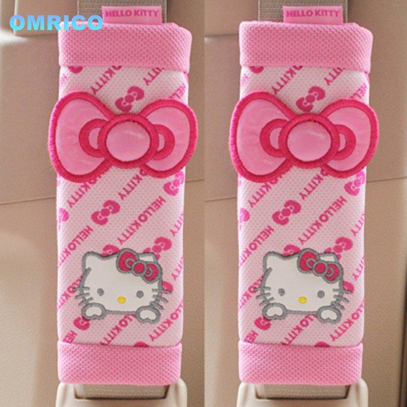 Hello kitty Car Accessories 2Pcs 1Pair Comfortable Car Safety Seat Belt Shoulder Pad Cover