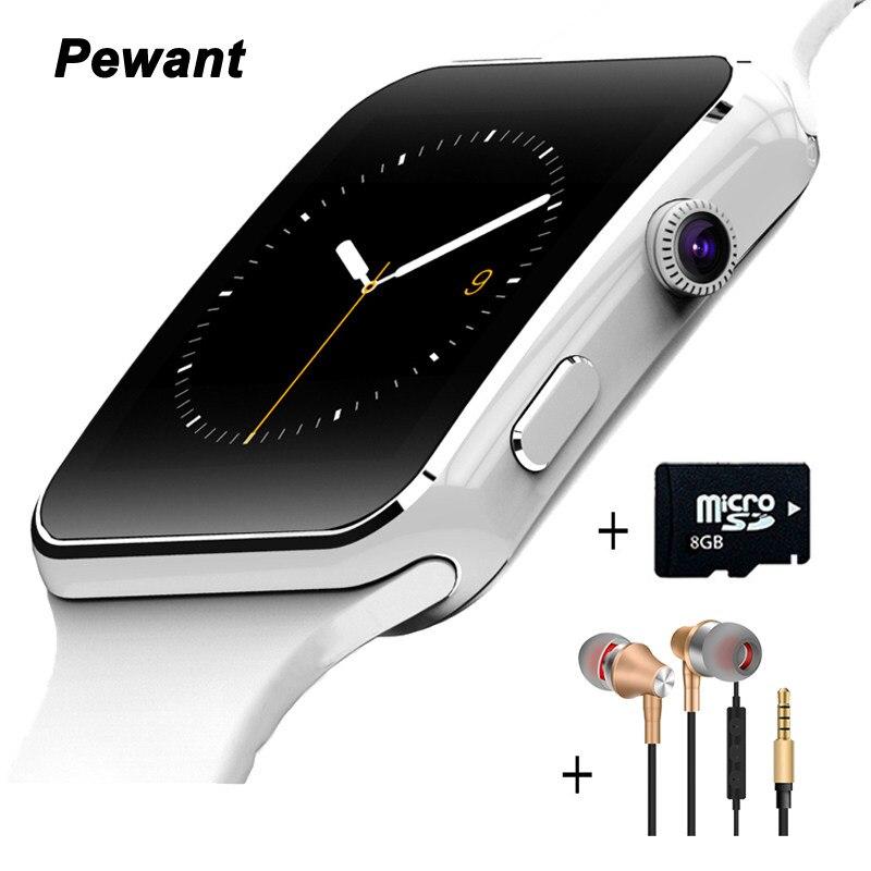 Pewant E6 Smart Uhr Auf Handgelenk Bluetooth Armbanduhr Für Android für Samsung Huawei Sony Englisch Sim-karte Schlaf-tracker PK X6