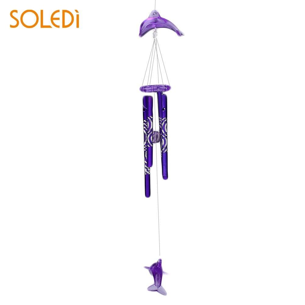 Дельфин Колокольчик колокольчик металлические трубы домашний подвесной Декор благословение на удачу - Цвет: purple