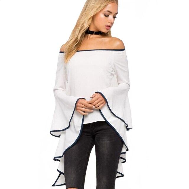 877205a17 Yejia moda feminina de slash neck flare luva branca blusas 2017 verão  outono manga longa fora