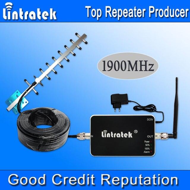 Lintratek GSM 1900 MHz Repetidor Celular 4G LTE FDD Banda 2 1900 Mhz UMTS 3G Amplificador de Sinal de Telefone Celular Antena Yagi Conjunto Quente S20