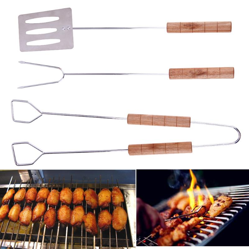 3Pcs/Set Stainless Steel Barbecue Grilling Tools Set BBQ Tongs Fork Spatula Utensil Chrome BBQ Tools Camping Cooking Tools Kit
