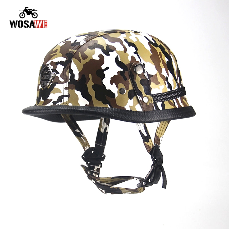 Image 5 - Motorcycle Half Helmet Bicycle Helmet ABS Leather Camouflage Safety Hard Hat Moto retro Helmet for Motocross Military Tactical-in Helmets from Automobiles & Motorcycles