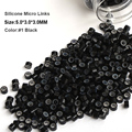 Silicone Hair Extension Beads 5.0*3.0*3.0MM 1000Pcs/Bottle #1 Black Microrings Micro Beads Hair Extension Tool