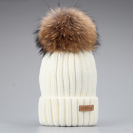 Furtalk Knitted Real Fur Hat 100% Real Raccoon Fur Pom Pom Hat Winter Women Hat beanie for women