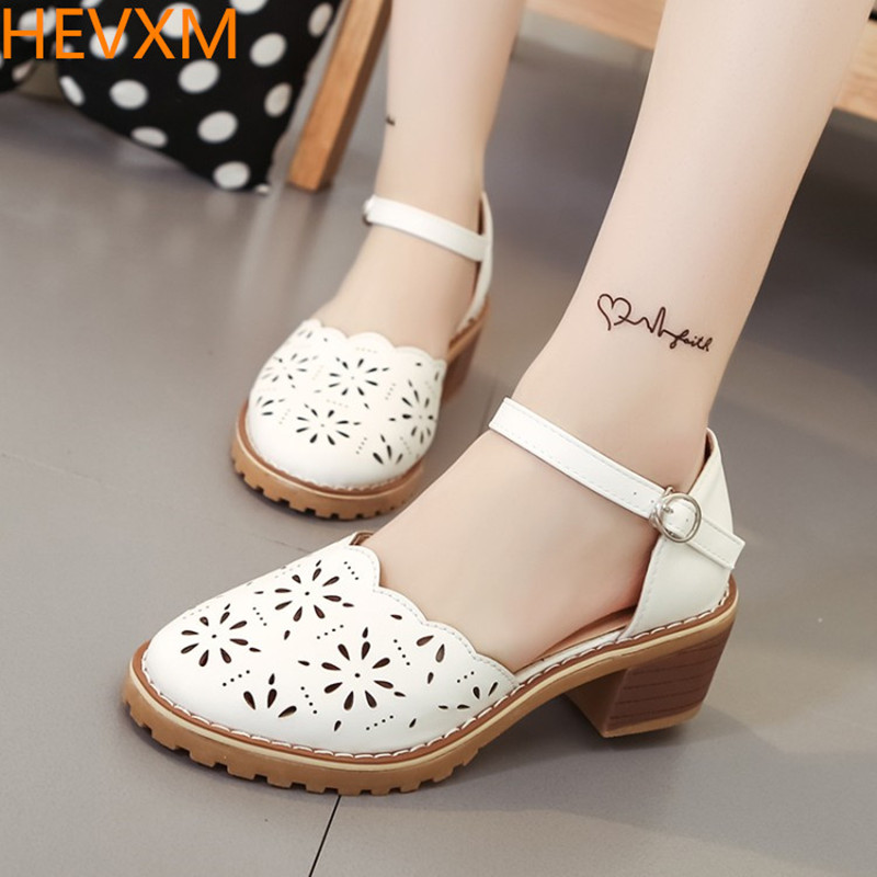 HEVXM 2017 autumn new ladies fashion wild hollow round head square root high heels female students hollow buckle sweet shoes the teeth with root canal students to practice root canal preparation and filling actually