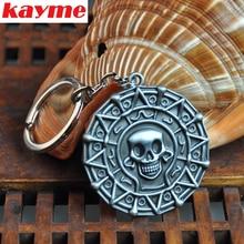 Kayme car key rings keychain Pirate gold skeleton head pendant key chain for bmw honda sokda toyota volkswagen nissan ford jeep