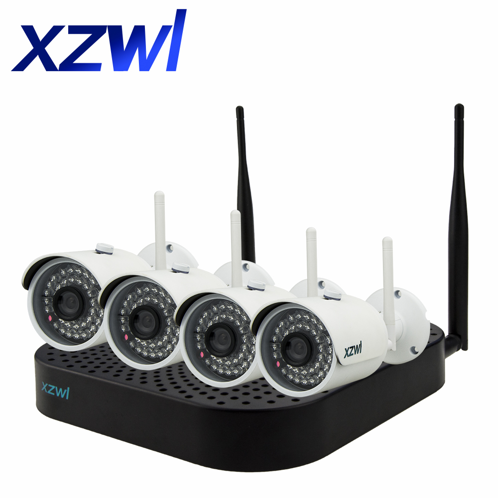 4CH 960P HD outdoor infrared night vision detection network IP camera WIFI closed circuit TV monitoring system wireless NVR kit