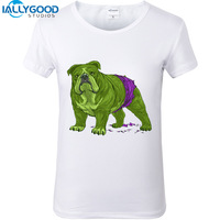 New French Bulldog T Shirts Women Print Novelty Short Sleeve Tee Funny Pug Printed White T