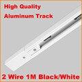 DHL 1m 2 Wire Single circuit Aluminium Track Light Rail Lighting Tracks Spot Light Rail System Track Bar Kit 1 Meter Black White