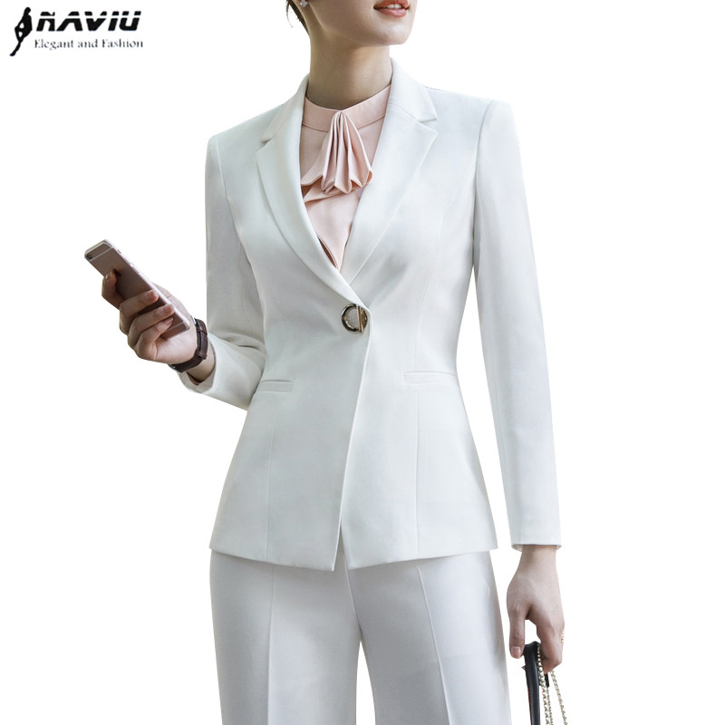Moda negro blanco pantalones trajes mujeres 2019 nuevo formal negocios manga larga slim blazer y pantalones Oficina señoras ropa de trabajo-in Trajes de pantalón from Ropa de mujer    1