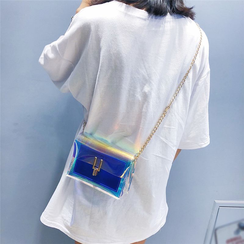 Sacos Crossbody para As Mulheres 2019 Sacos de Laser Transparente Mulheres Moda Estilo Coreano saco do Mensageiro Saco de Ombro PVC Saco de Praia À Prova D' Água