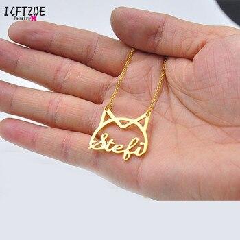 afc40a6e721c Personalizado Cat encanto colgante nombre Collar personalizado regalo de  plata de oro rosa collar de gargantilla de los hombres y las mujeres de  dama ...