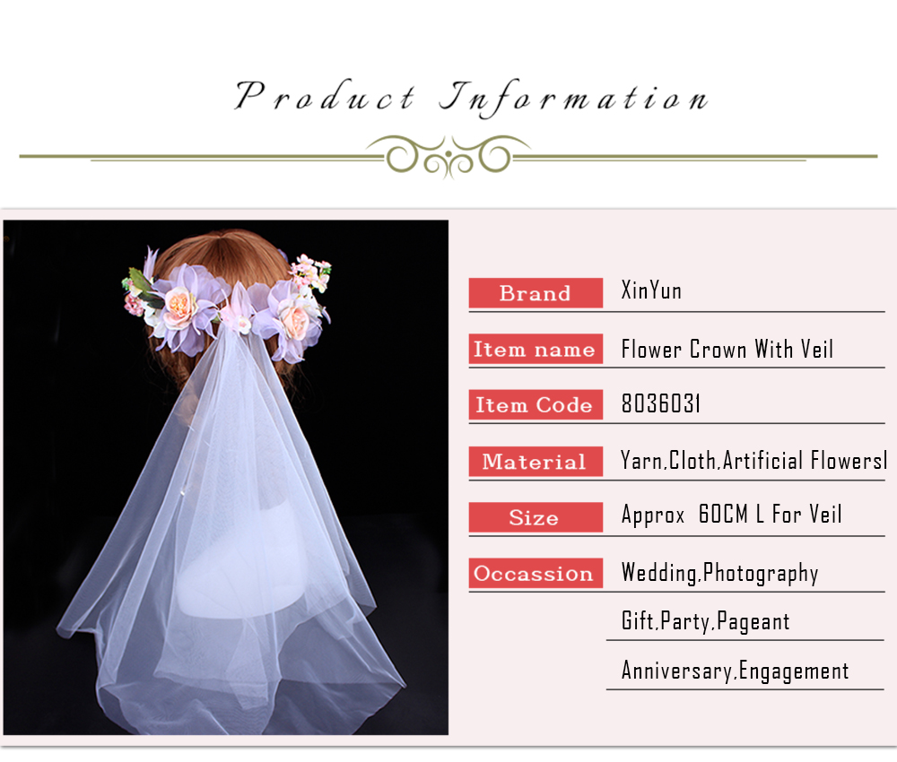 Aliexpress Buy Xinyun Flower Crown With White Veil Wedding