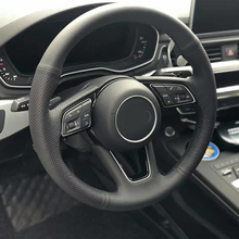 цена Free Shipping High Quality cowhide Top Layer Leather handmade Sewing Steering wheel covers protect For Audi A4 A4L в интернет-магазинах