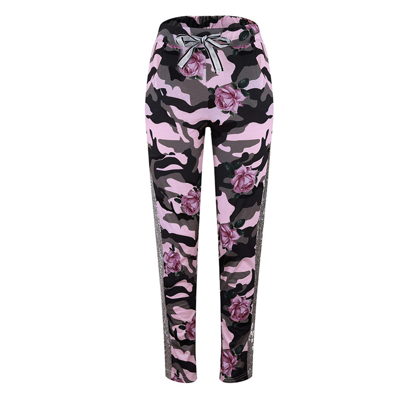 Fashion Womens Pants 2018 New Arrival Comfortable Sequins Camouflage Print Bandage Patchwork Mid Waist Long Pants Trousers F#J12 (19)