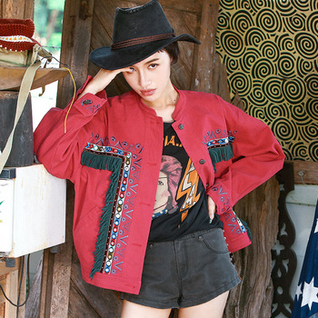 New Spring Women Streetwear Hip Hop Casual Loose Ultra Loose Tassel Embroidery Short Canvas Hippie Red Jacket