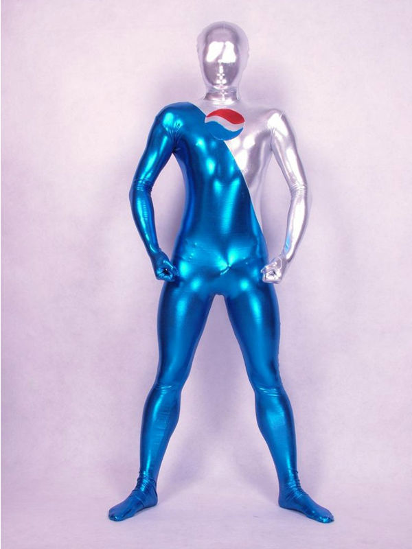 Blue And Silver Shiny Zentai Pepsi Costume for Halloween and Pepsi Events figurine