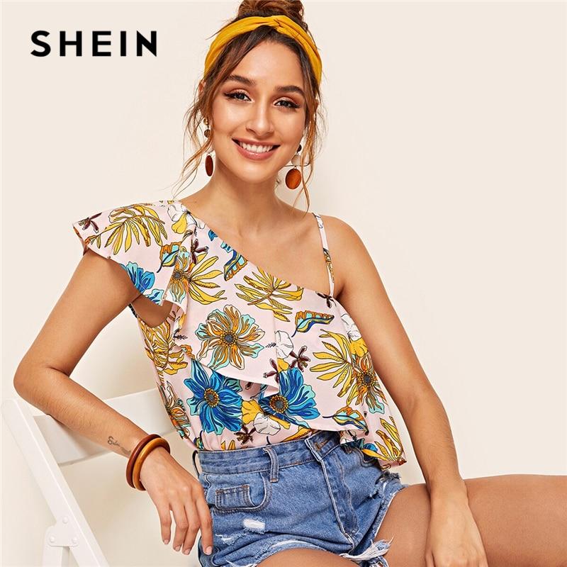 SHEIN Boho Botanical Ruffle Asymmetrical Shoulder Top Multicolor Blouse Women Summer Sleeveless Loose Womens Tops and Blouses