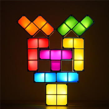 DIY تتريس لغز ضوء تكويم LED لمبة مكتب Constructible كتلة ليلة ضوء الرجعية لعبة برج طفل الملونة لعبة الطوب
