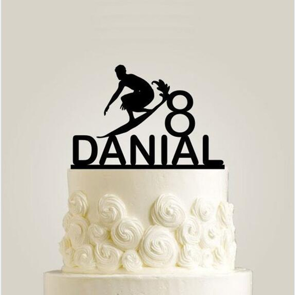 Personalized Sport Theme Birthday Party Cake Topper Surfing Cake Accessory Topper Engraved Name Age Cake Decoration Supplies