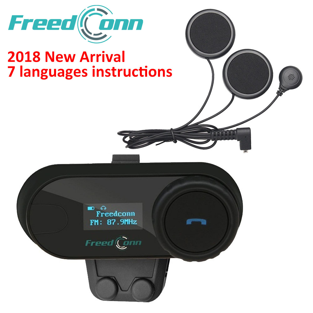 Auricular FreedConn 2018 TCOM-SC BT Interphone de la motocicleta del casco de la inalámbrico Bluetooth auricular intercomunicador con LCD FM Radio de micrófono