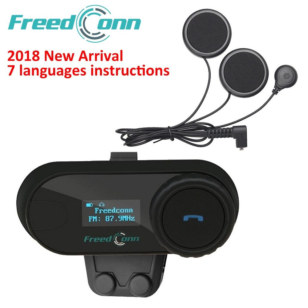 FreedConn 2018 TCOM-SC BT Interphone Da Motocicleta Capacete Intercomunicador Fone De Ouvido Bluetooth Sem Fio com Rádio FM LCD Suave Microfone