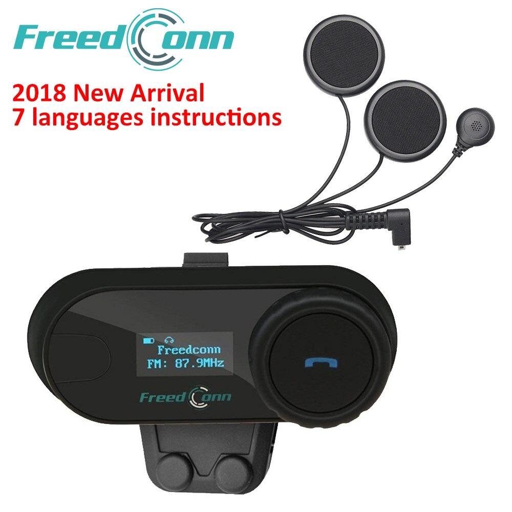 FreedConn 2018 TCOM-SC BT Sprech Motorrad Helm Drahtlose Bluetooth Headset Intercom mit LCD FM Radio Weiche Kopfhörer