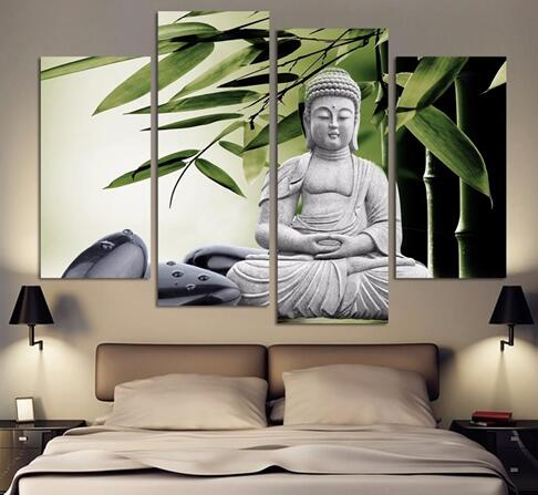 Modern Buddha Painting 4 Picture Home Decoration marble buddha and banboo landscape art canvas with frame(China (Mainland))