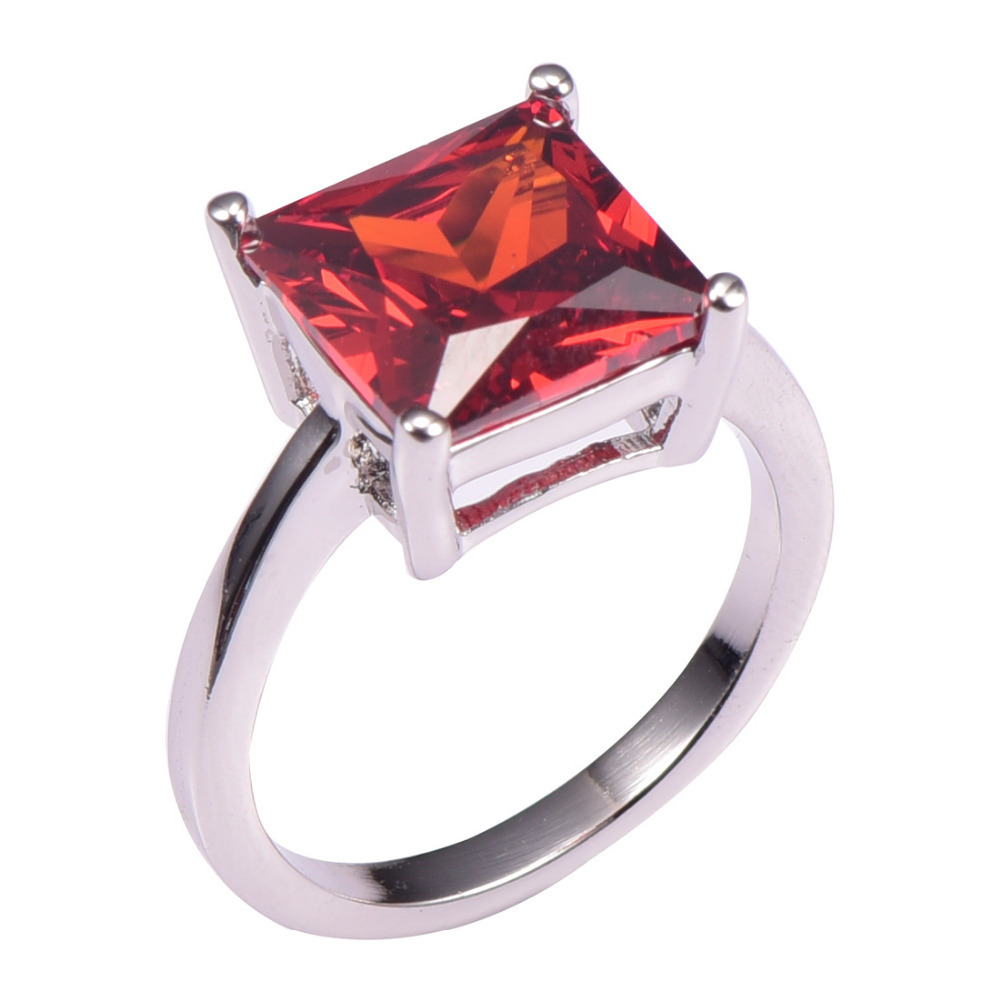 925 Sterling Silver Red Natural Ruby Ring Three Gemstones Size 5 6 7 8 9 10 11