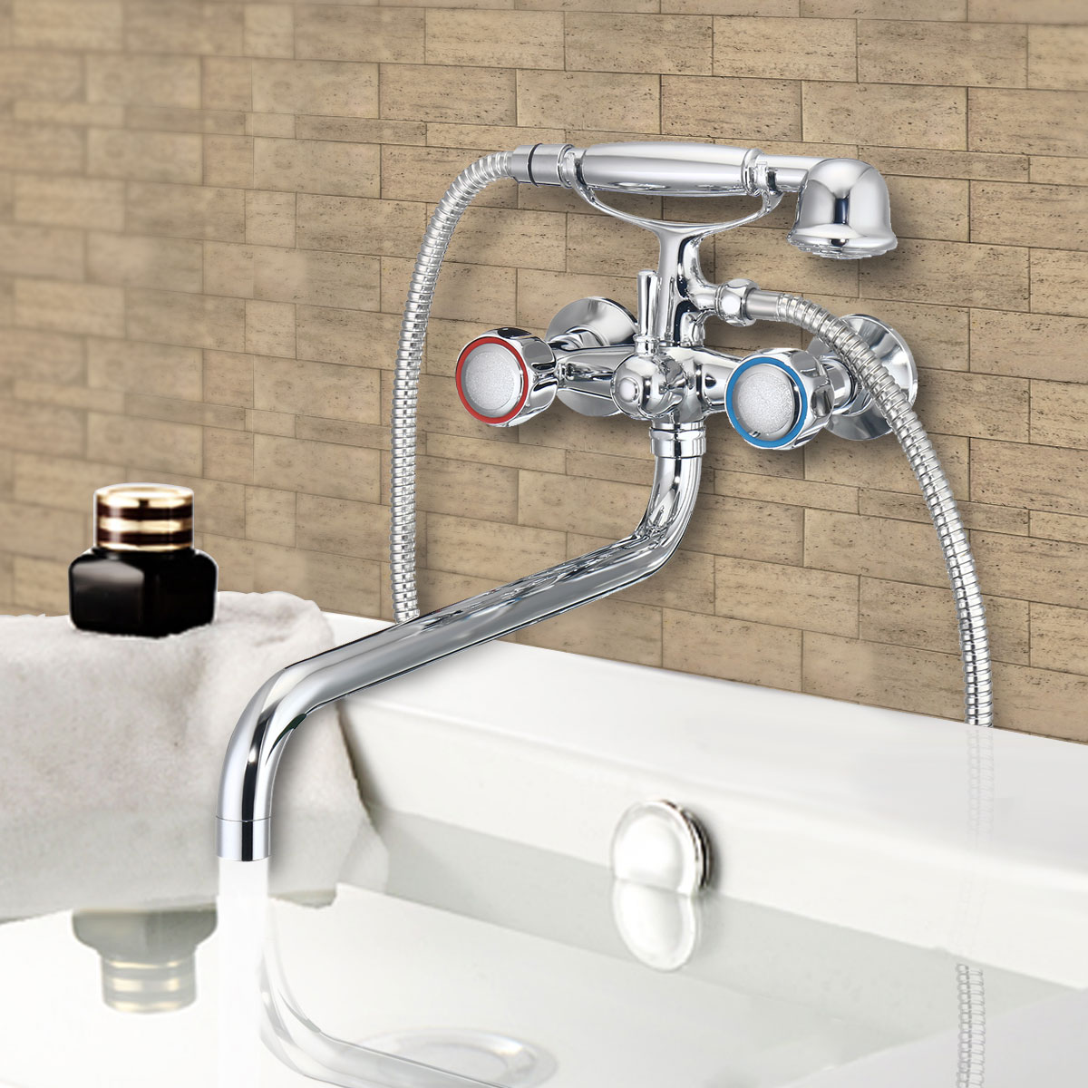 Us 28 78 47 Off Xueqin Chrome Telephone Type Bathroom Shower Set Head Wall Mounted Double Handle Bath Faucet Shower Faucets Handheld Spray In Shower