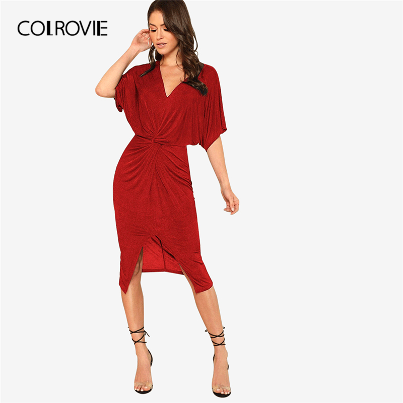 716dc52bff COLROVIE Red V Neck Twist Front Half Sleeve Split Sexy Bodycon Dress Autumn  Solid Elegant Midi Party Dress Women Dresses | Shopping discounts and ...