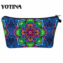 Yotina Floral Printing Makeup Bags With Multicolor Pattern Mandala Cosmetics Pouchs For Travel Ladies Pouch Women Cosmetic Bag