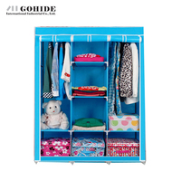 Gohide 2016 Easy Folding Cloth Wardrobe Double Wardrobe Steel Frame Large Furniture Wardrobes With Simple Lockers For Bedroom