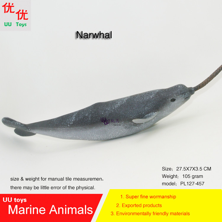 Hot toys Narwhal (Unicorn Whale) Simulation model Marine Animals Sea Animal kids gift educational props Action Figures