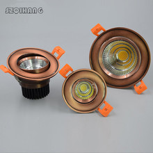 European style COB 7W 10W 15W 20W LED dimmble Downlight White/Nature White/Warm White Ceiling Lamp Bronze Red Copper