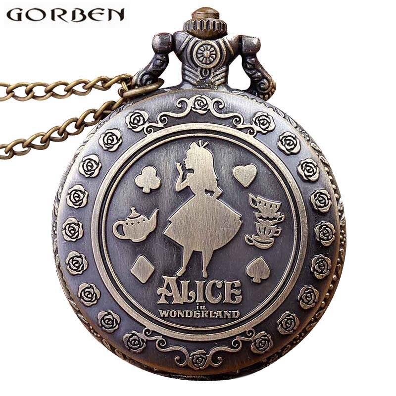 Retro Anime Alice In Wonderland Pocket Watch Necklace For Women Men Vintage Bronze Flip Quartz Fob Antique Clock Chain Pendant