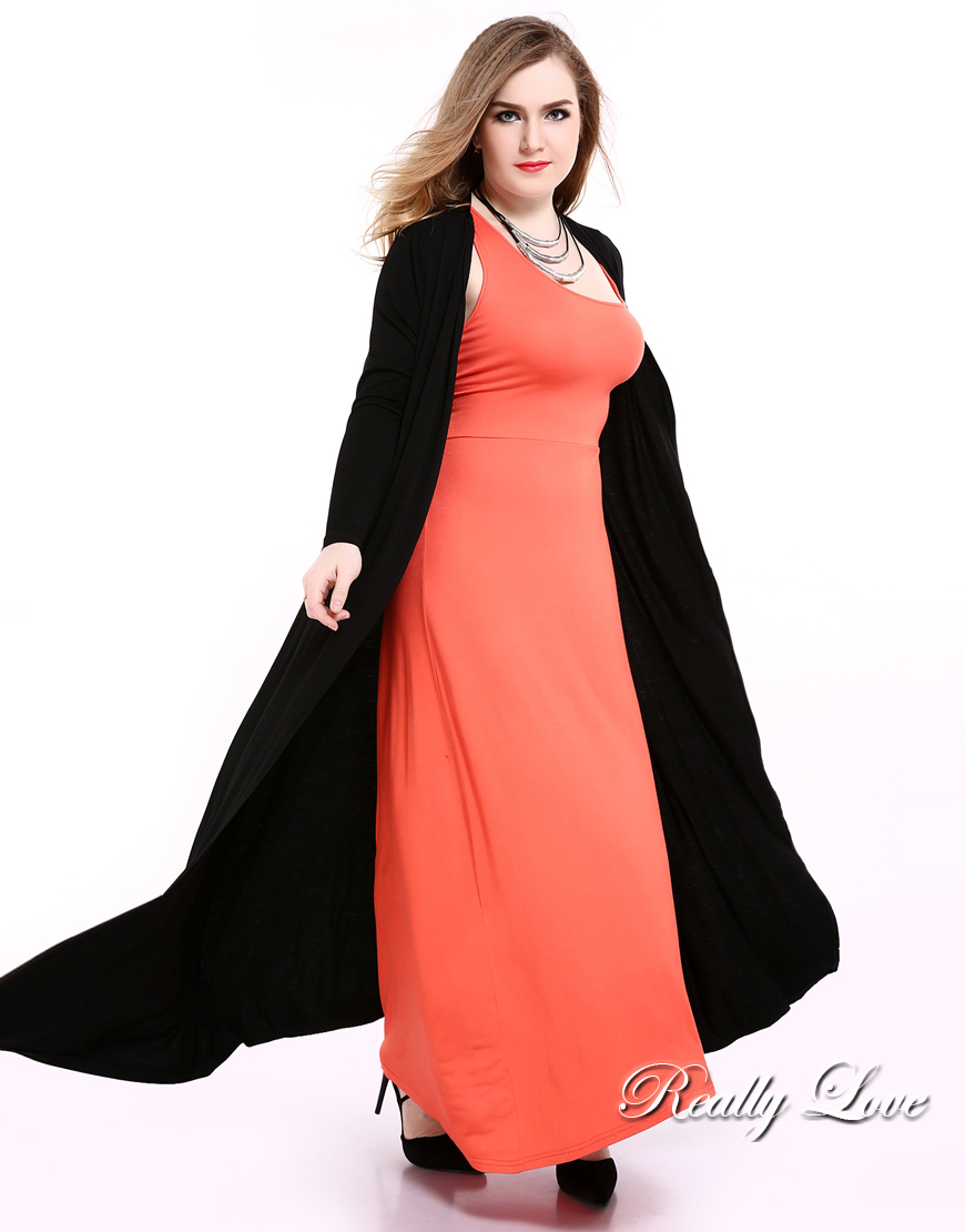 dbb74b03e5c98 Cute Ann Women s Black Plus Size Duster Cardigan Long Sleeve Maxi ...