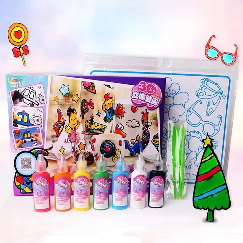 DIY Drawing Toys Kids Cartoon Glue Tempera Painting 3D Stickers For Kindergarten Craft Educational Interactive Toys For Children