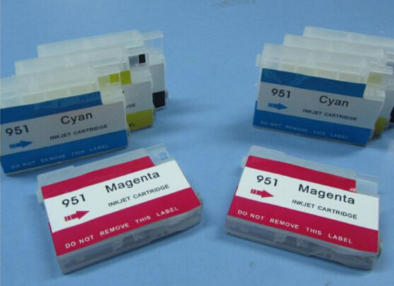 10set/lot Empty For HP Printers Refillable Ink Cartridges 8100/8600 950/951 With Auto Reset Chip RIC  Printer