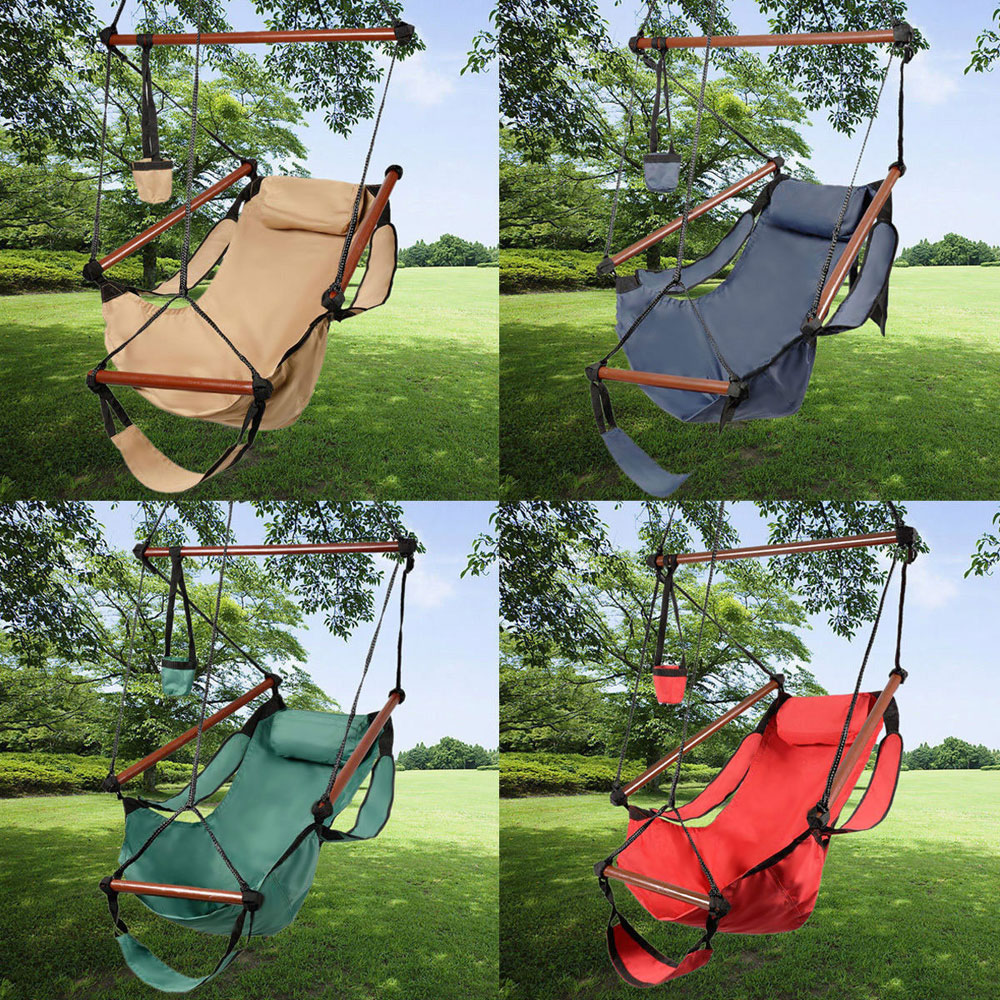 Hammock Hanging Swing Chair-Air Outdoor-Chair Sky Warehouse Available Deluxe Solid-Wood