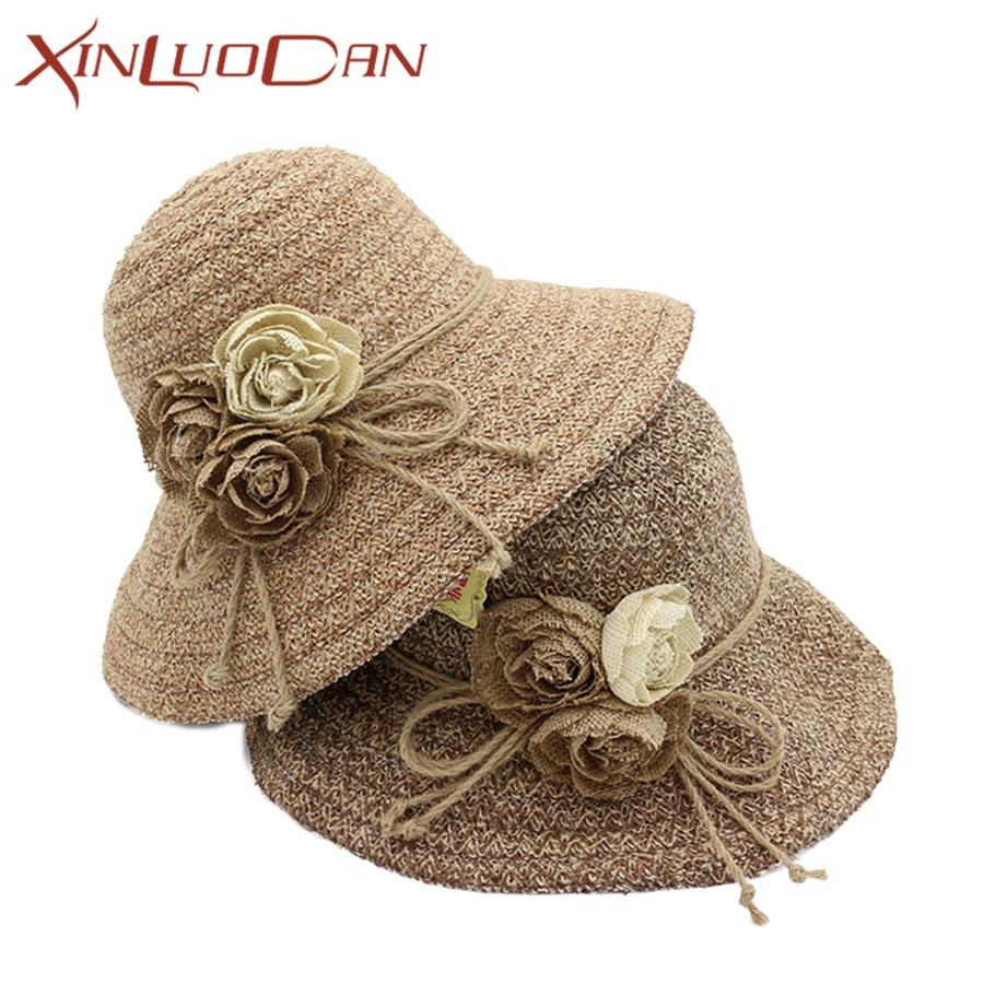 Ladies Straw Beach Hat Flower Sun Visor Summer Hats For Women Collapsible Holiday Sun Ha ...