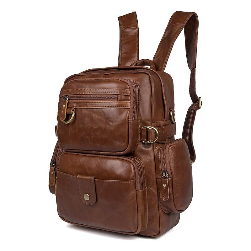 Nesitu High Quality Vintage Black Brown Genuine Leather Men Women's Backpack Teenager Girl Travel Bags Female Shoulder Bag M7042