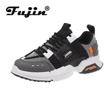 Fujin Sneakers Women Spring Autumn Thick Bottom Dropshipping Breathable Muffin Lace Round Toe Mesh Leisure Shoes